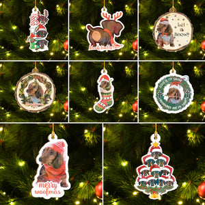 Xmas Dachshund Ornaments Set, Merry Woofmas Ornaments Set, Funny Christmas Ornaments Family Gift Idea For Dog Lover