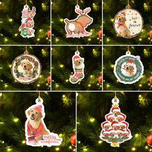 Xmas Golden Retriever Ornaments Set, Merry Woofmas Ornaments Set, Funny Christmas Ornaments Family Gift Idea For Dog Lover