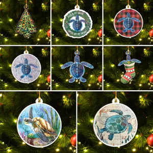 Xmas Turtle Ornaments Set, Merry Christmas Ornaments Set, Funny Christmas Ornaments Family Gift Idea For Turtle Lover
