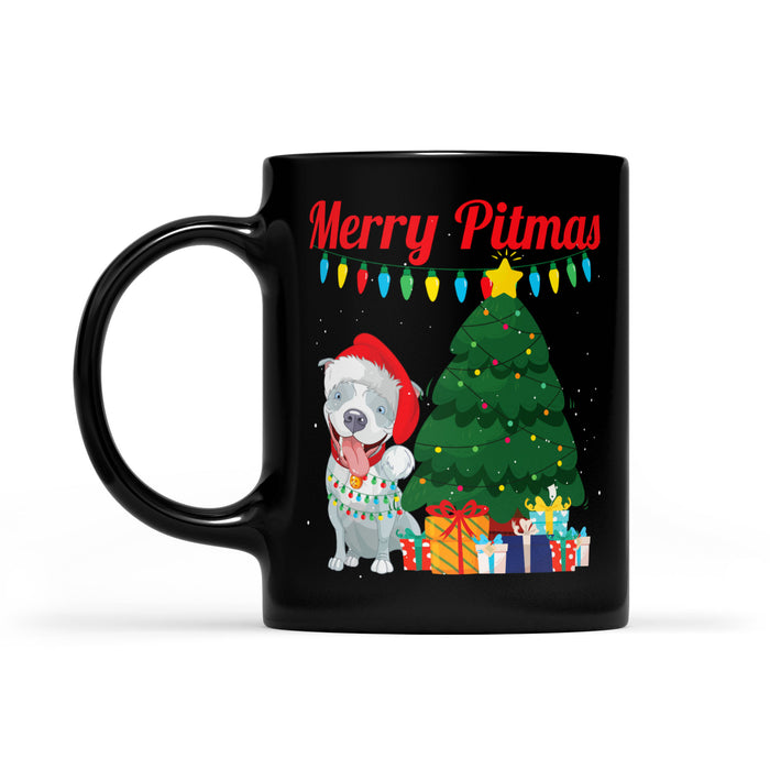 Funny Christmas Costume For Pitbull Lovers - Merry Pitmas  Black Mug Gift For Christmas
