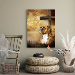 Custom Dog Breed - Boxer Dog – God And The Cross, Dogs lover Canvas, God Canvas, Personalized Canvas