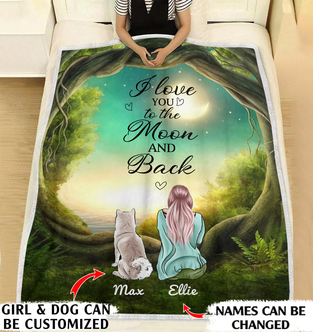 I love you to the moon and back dog mom personalized coffee blanket gifts custom christmas blanket