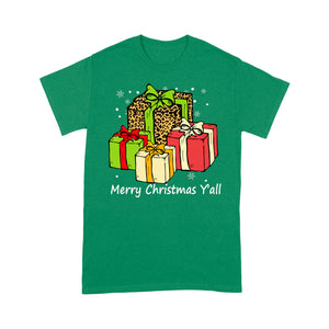Merry Christmas Y'all With Christmas Leopard Leather Gift  Tee Shirt Gift For Christmas
