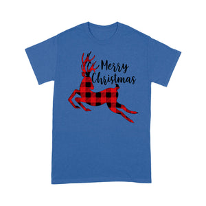 Merry Christmas Reindeer Buffalo Plaid Pattern Funny  Tee Shirt Gift For Christmas