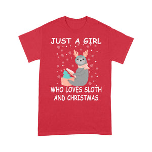 Just A Girl Who Loves Sloth And Christmas  Tee Shirt Gift For Christmas