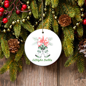 Gingle bells funny Gin Christmas ornament - Funny Christmas ceramic ornament Merry Christmas family gift idea
