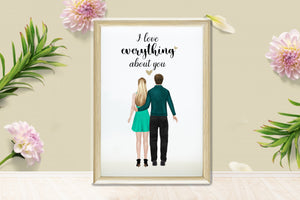 Personalized Picture Personalised Unique Couple Print, Custom Couple Gift, His And Hers Gift, Boyfriend Gift, Girlfriend Gift, Anniversary Present, Valentines Day Gift