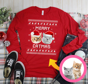 Merry Catmas Personalized Sweatshirt, Meowy Christmas Personalized Cat Sweatshirt, Funny Christmas Sweatshirt Family Gift Idea For Cat Lover