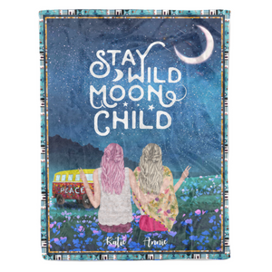 Stay Wild Moon Child personalized coffee blanket gifts custom christmas blanket
