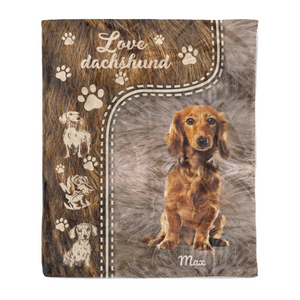 Love Dachshund personalized coffee dog blanket gifts custom christmas blanket