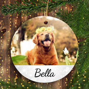 Personalized Dog & Cat Christmas Ornament - Customized Pet Portrait Ornament - Photo Ornament Holiday Unique Gift Idea for Dog & Cat Lovers