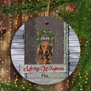 Merry Woofmas PERSONALIZED Dog Ornament Funny Christmas Unique Family Gift Idea For Dog Lover
