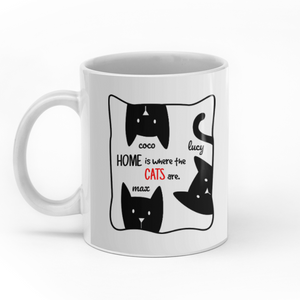 Home are where the cats are custom christmas mugs