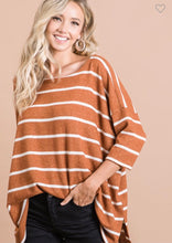 Load image into Gallery viewer, Rust & Ivory Stripped Top