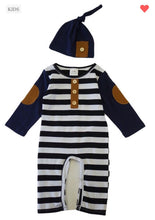 Load image into Gallery viewer, Boy's Navy & Stripped Outfit & Hat
