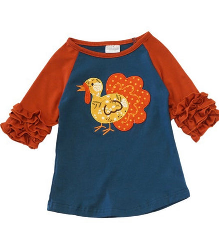 Girl's Turkey Ruffle Top