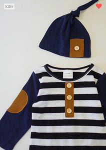 Boy's Navy & Stripped Outfit & Hat