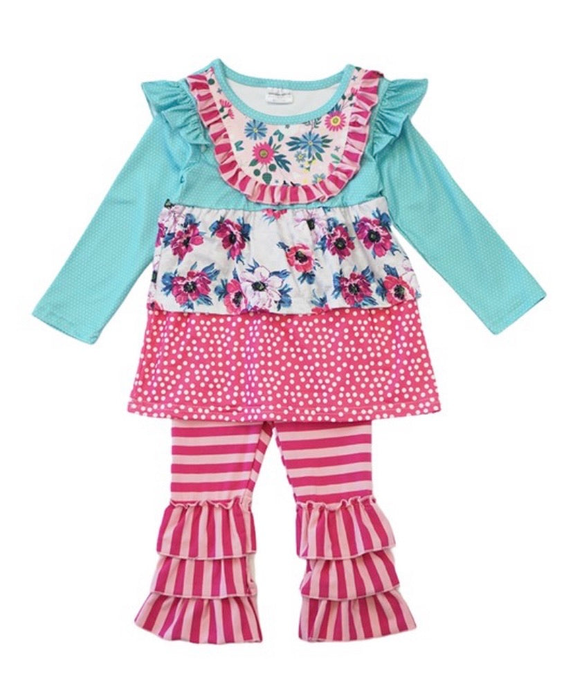 Baby Girl Floral & Stripped Outfit