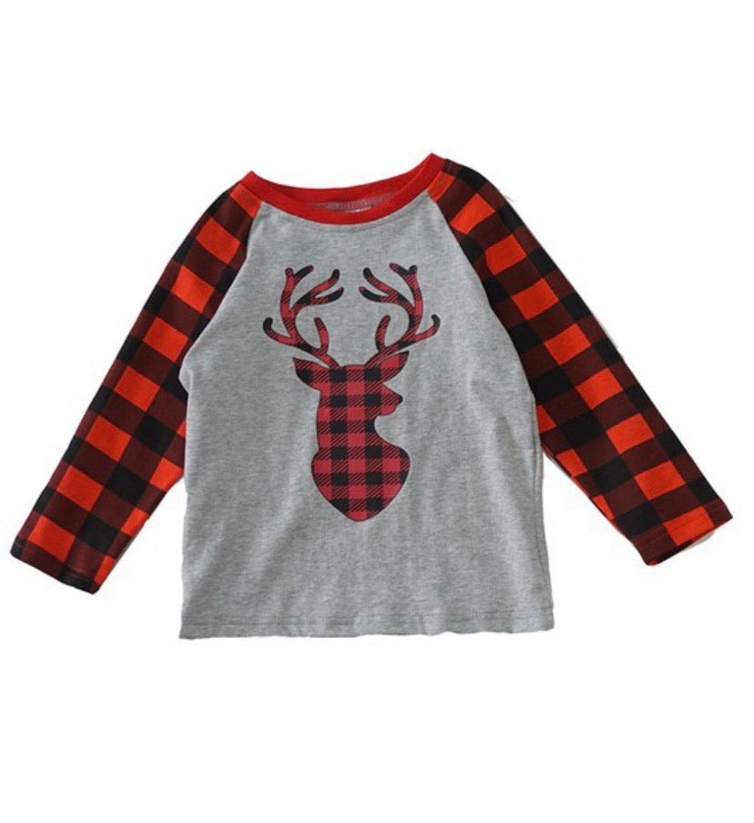 Boy's Buffalo Plaid Deer Top
