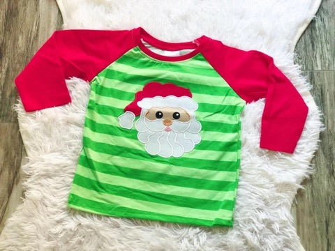 Green Stripped Santa Top (Unisex)
