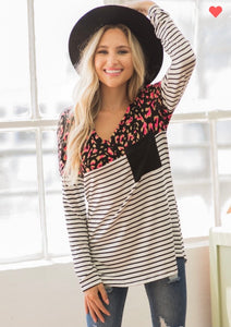 Black & Ivory Stripped Cheetah Pocketed Top
