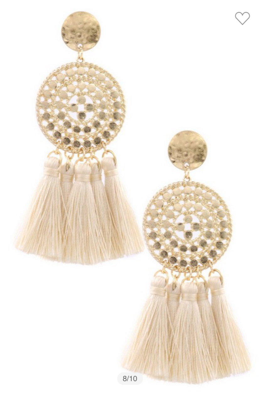 Ivory Tassel Drop Earrings
