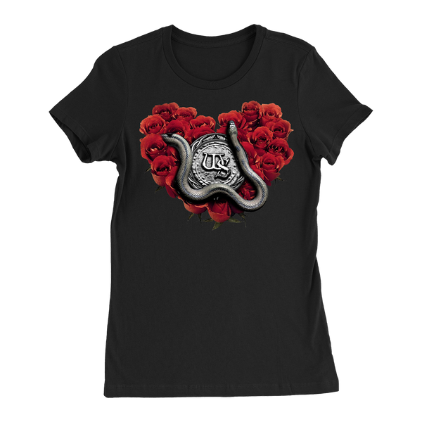 Rose Heart Black Ladies Tee
