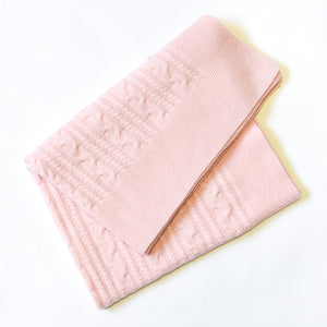 PINK TWISTY CASHMERE BABY BLANKET 2