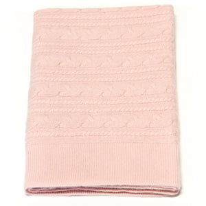 PINK TWISTY CASHMERE BABY BLANKET 1