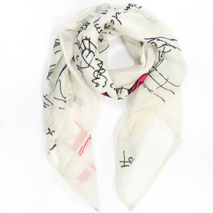 FJORD CRUISE II IVORY CASHMERE SCARF 2