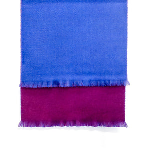 DOUBLESIDE BLUE-PURPLE CASHMERE-WOOL SCARF