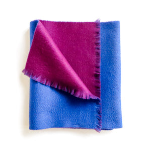 DOUBLESIDE BLUE-PURPLE CASHMERE-WOOL SCARF 3