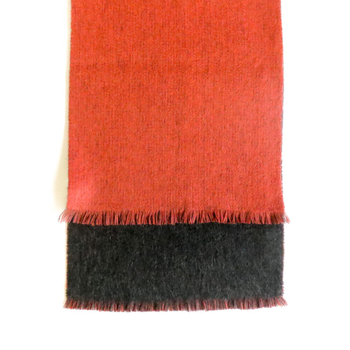 DOUBLESIDE ORANGE-BLACK CASHMERE-WOOL SCARF