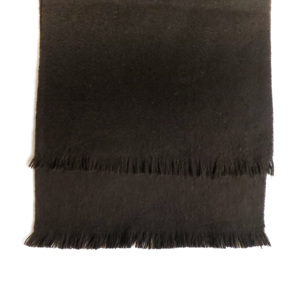 DOUBLESIDE BLACK-BLACK CASHMERE-WOOL SCARF