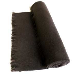 DOUBLESIDE BLACK-BLACK CASHMERE-WOOL SCARF 2