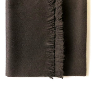 DOUBLESIDE BLACK-BLACK CASHMERE-WOOL SCARF 3
