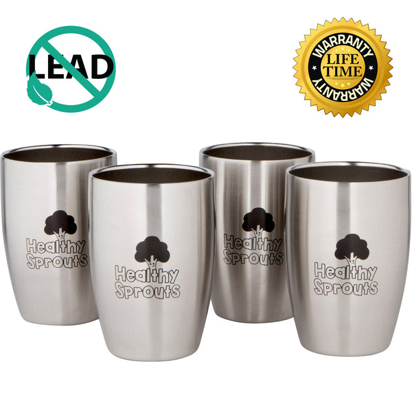 Healthy Sprouts Stainless Steel Kids Cups (4 Pack) – 8 Oz Vacuum Insulated Dual Wall Steel Tumblers