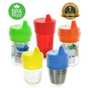 Healthy Sprouts Silicone Sippy Lids (5 Pack) - Make Any Cup a Sippy Cup (Red Yellow Blue Green Orange)