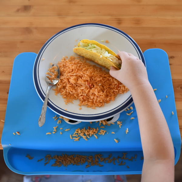 The Cibo Crumb Catcher Silicone Placemat for Babies, Toddlers, & Kids - Catch The Mess *Before* It Hits Your Kitchen Floor! (Blue)