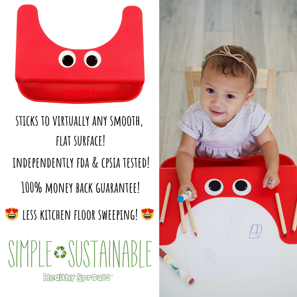 The Cibo Crumb Catcher Silicone Placemat for Babies, Toddlers, & Kids - Catch The Mess *Before* It Hits Your Kitchen Floor! (Red)