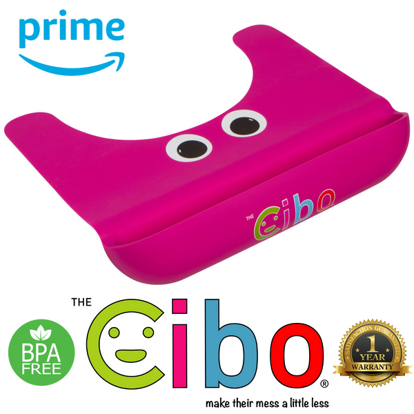 The Cibo Crumb Catcher Silicone Placemat for Babies, Toddlers, & Kids - Catch The Mess *Before* It Hits Your Kitchen Floor! (Pink)