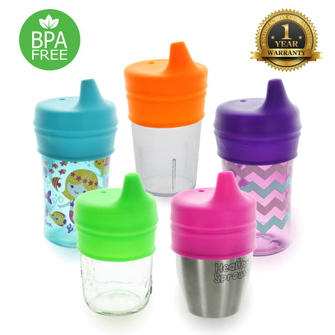 Healthy Sprouts Silicone Sippy Lids (5 Pack) - Make Any Cup a Sippy Cup (Purple, Neon Green, Hot Pink, Fluorescent Orange, and Turquoise)