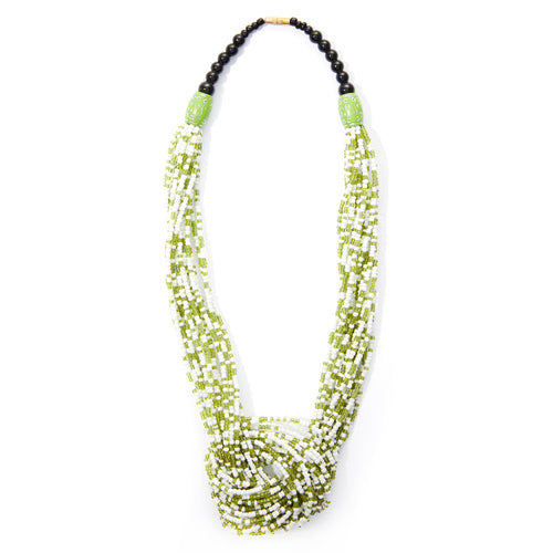 Green & White Rope Necklace