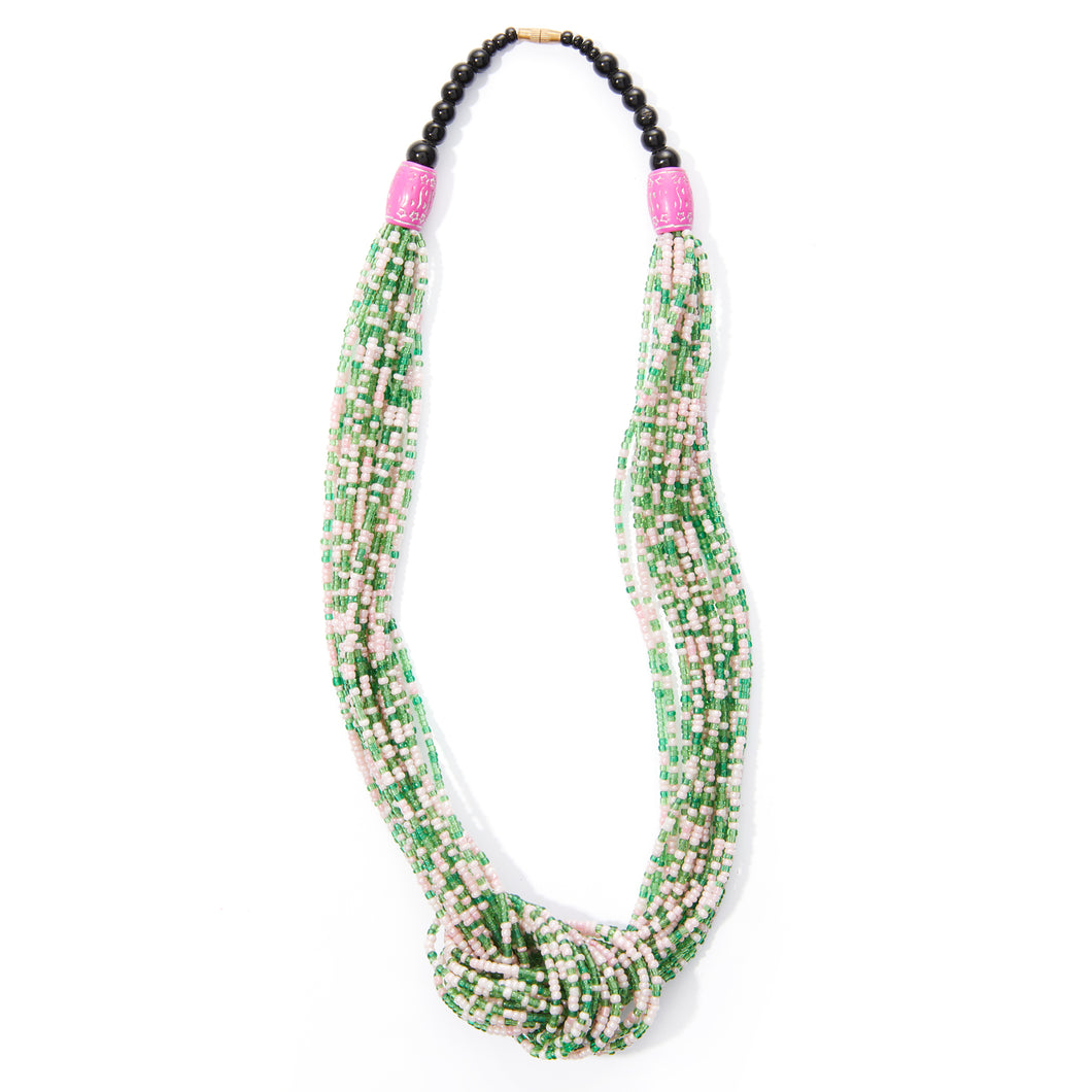 Green White & Pink Rope Necklace