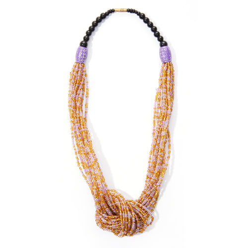 Gold, White & Purple Rope Necklace