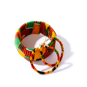 Kente Bracelet and Earrings Set