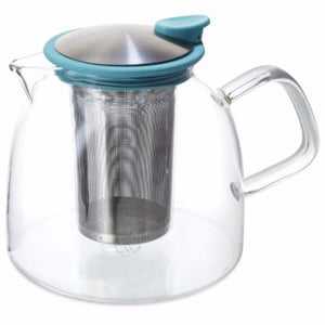 Pyrex Glass Loose Leaf Tea Pot with Stainless Steel Infuser 42 ounces Turquoise