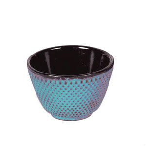 Japanese Cast Iron Tea Cup Hobnail Pattern Blue