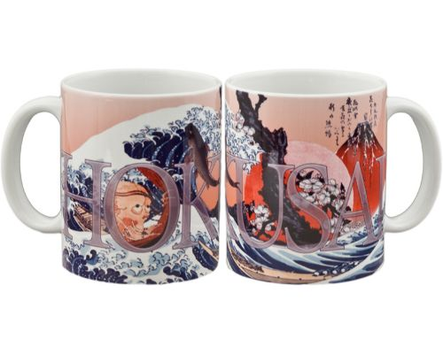 Hokusai Great Wave Print Mug Red
