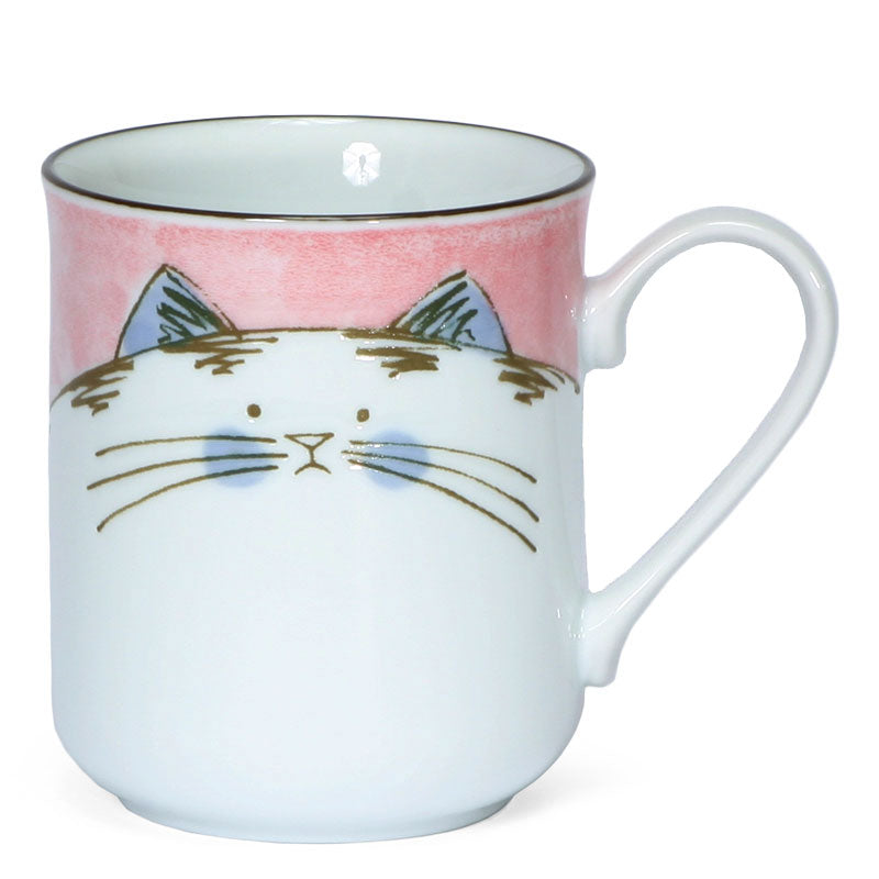 Japanese chubby cat mug in Pink